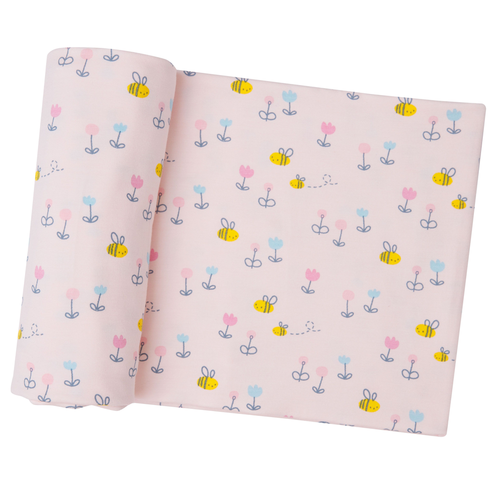 Bamboo Swaddle, Little Bees Pink