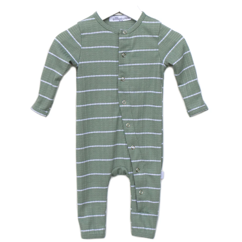 One Piece Snap Romper, Sage Stripe
