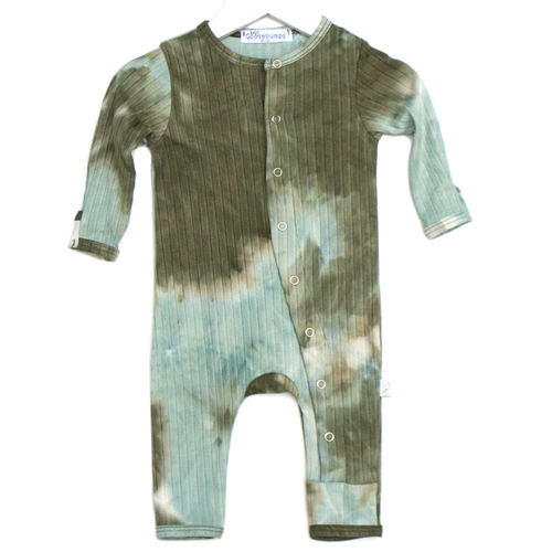 One Piece Ribbed Snap Romper, Moss