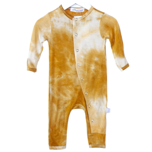One Piece Snap Romper, Butterscotch Tie Dye