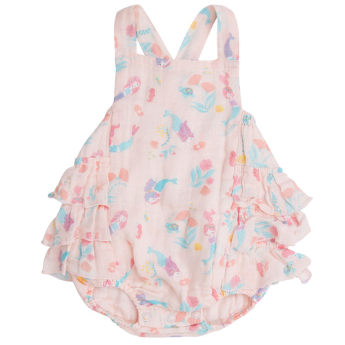 Ruffle Sunsuit, Mermaids Pink