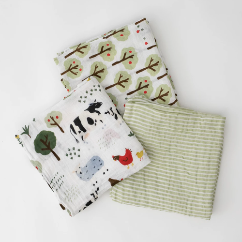Muslin Swaddle 3 - Pack, Family Farm