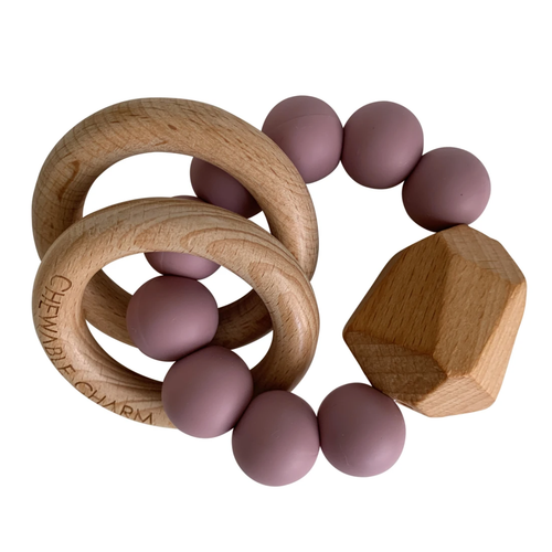 Hayes Silicone + Wood Teether, Lilac