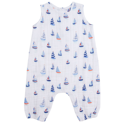 Sleeveless Long Leg Romper, Nautical Boats