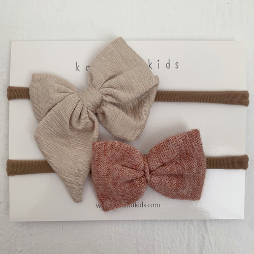 Nylon Headband Bow Set, Terra