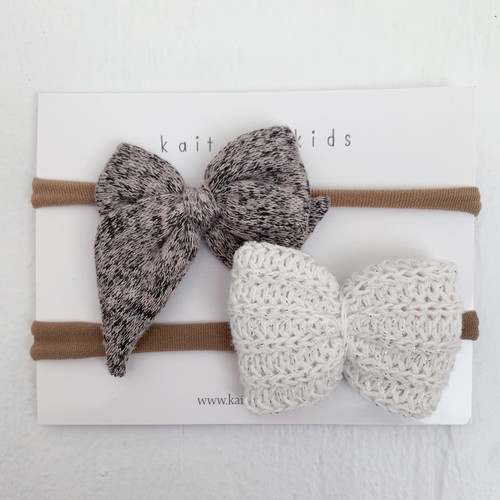 Nylon Headband Bow Set, Rye
