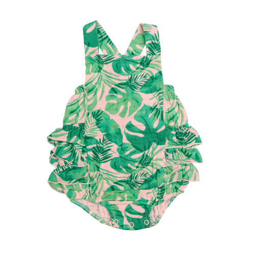 Ruffle Sunsuit, Tropical Leaves Pink