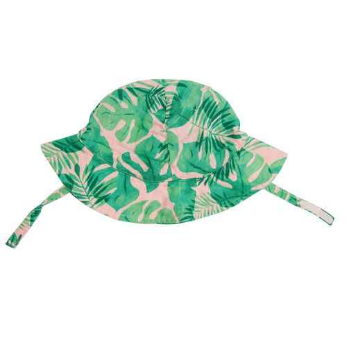 Sunhat, Tropical Leaves Pink