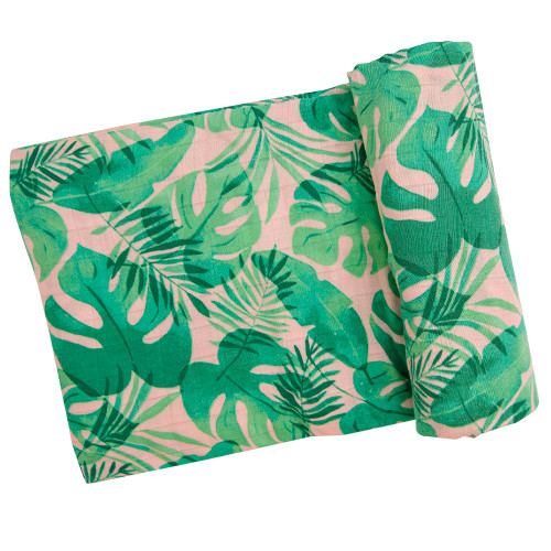 Muslin Swaddle, Tropical Leaves Pink