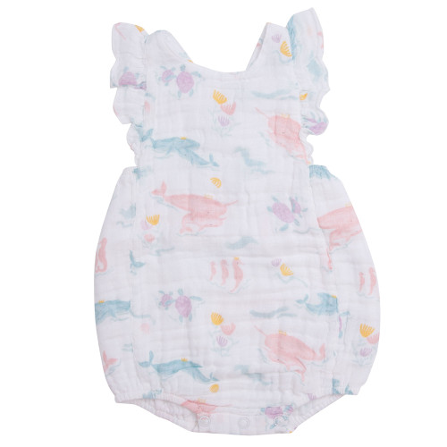 Ruffle Sunsuit, Pretty Ocean