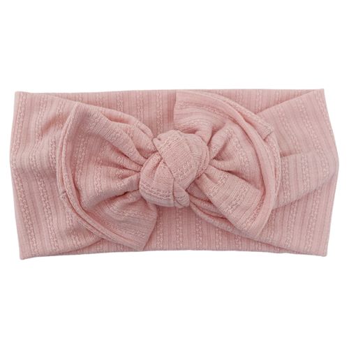 Headwrap Bow, Textured Baby Pink