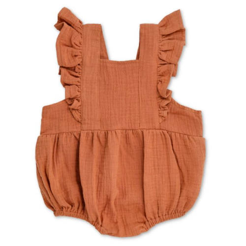 Flutter Sleeve Sunsuit, Rust