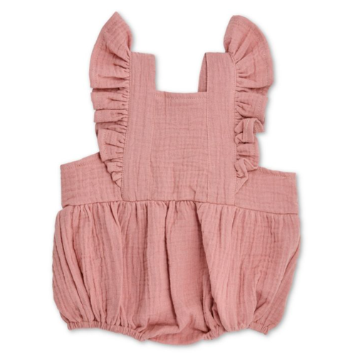 Flutter Sleeve Sunsuit, Terra Cotta