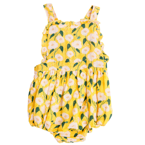 Ruffle Bib Sunsuit, Golden Floral