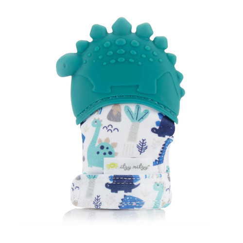 Teething Mitt, Teal Dino