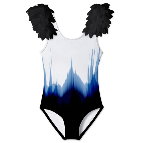 White Dipped Tank w/ Shoulder Petals Swimsuit