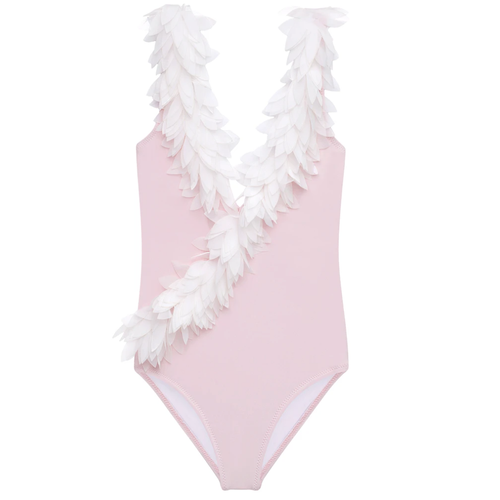 Pink V-Neck Swimsuit w/ Petals