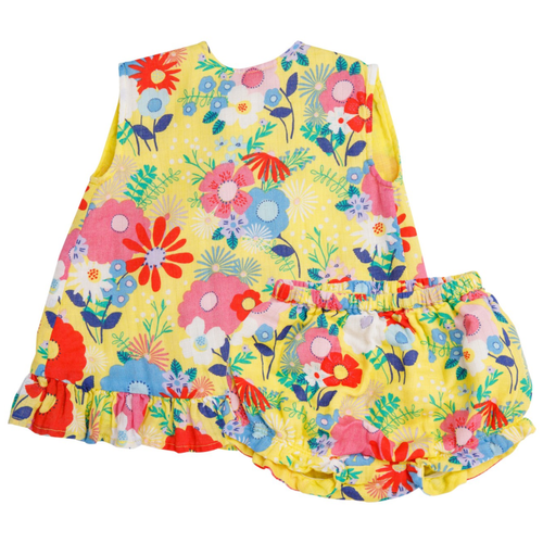 Ruffle Top & Bloomer, Yellow Multi Floral