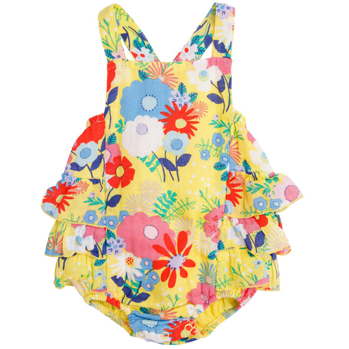 Ruffle Sunsuit, Yellow Multi Floral