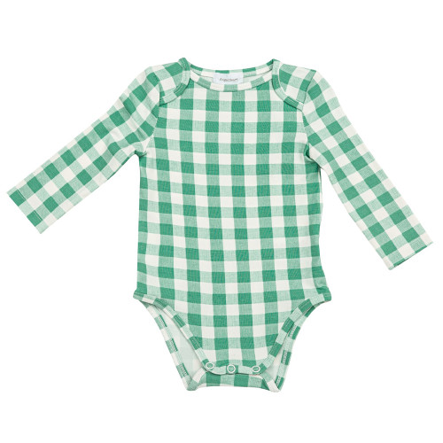 Long Sleeve Bodysuit, Gingham Green