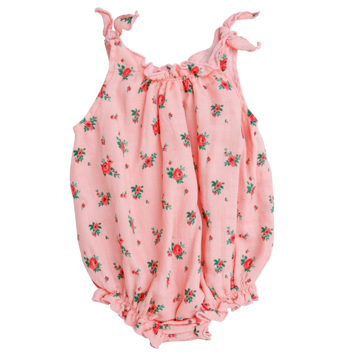 Smocked Bubble Sunsuit, Mini ROse