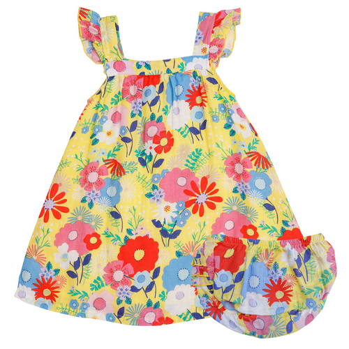 Dress & Bloomer Set, Yellow Multi Floral