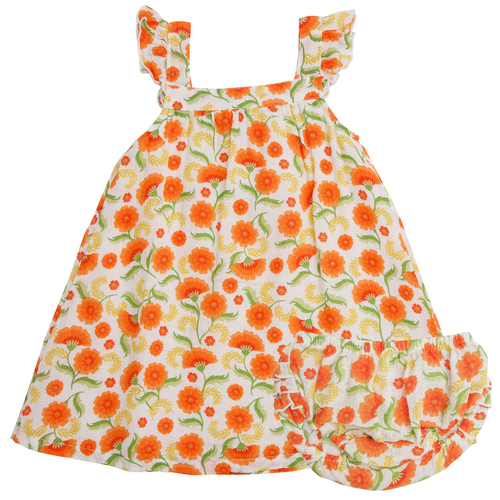 Dress & Bloomer Set, Marigold Swirl