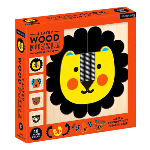 Animal Faces 4-Layer Wood Puzzle