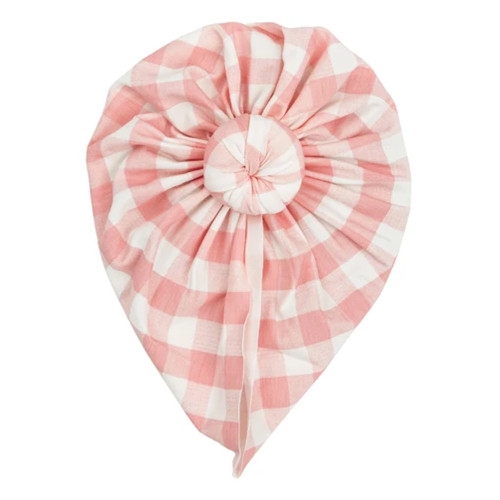 Knot Turban, Gingham Pink
