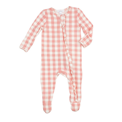 Zipper Ruffle Footie, Gingham Pink