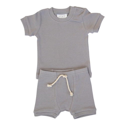 Ribbed Two Piece Short Set, Grey
