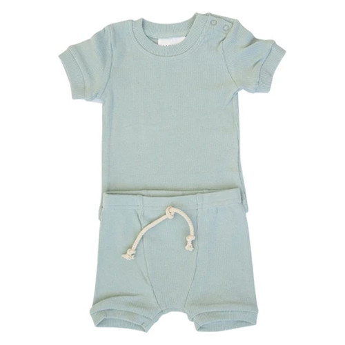 Ribbed Two Piece Short Set, Sea