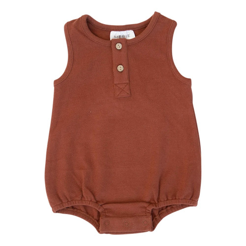 Button Bubble Romper, Brick