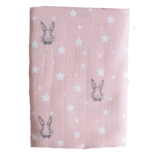 Muslin Swaddle, Bunny Star Pink