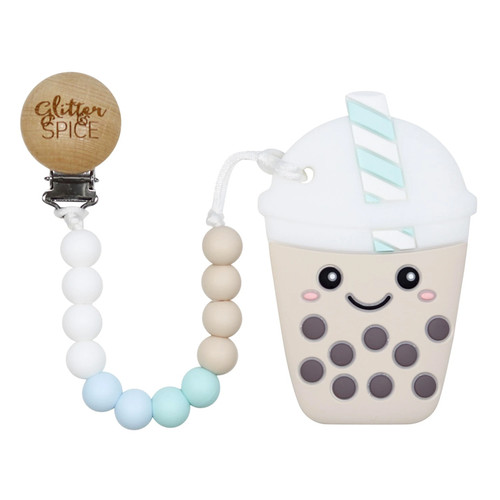 Teether with Clip, Bubble Tea Blue