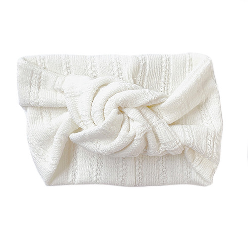 Twist Knot Headband, White Pointelle