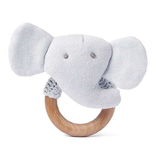 Cloud Blue Elephant Ring Rattle
