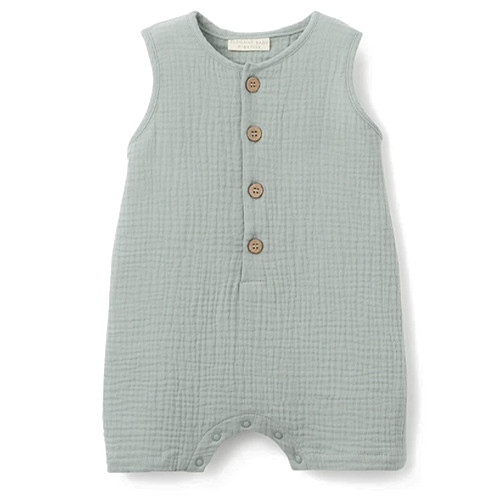 Organic Muslin Sleeveless Shortall, Light Sage