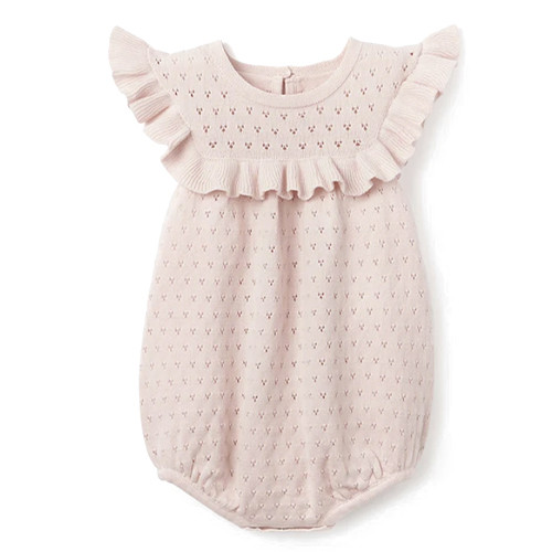 Knit Bubble Romper, Blush Pointelle