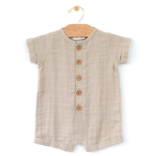 Muslin Short Button Romper, Rain Cloud