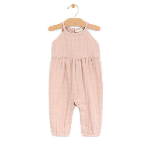 Muslin Lace Back Romper, Soft Peach