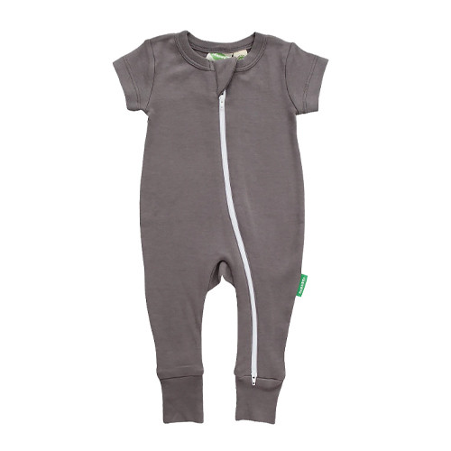 Organic Short Sleeve Zip Romper, Charcoal