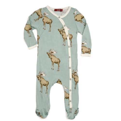 Bow Tie Moose Footed Romper