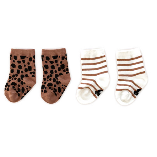 Socks 2-Pack, Terracotta Stripe/Ocelot