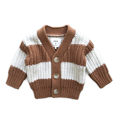 Chunky Cardigan, Terracotta Stripe