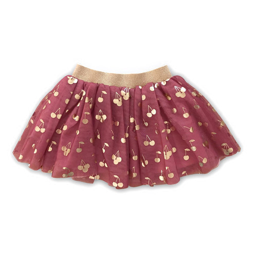 Tulle Skirt, Gold Cherry