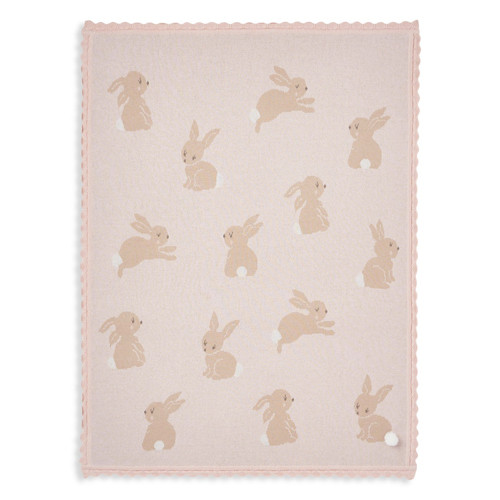 Knit Baby Blanket, Pink Bunny