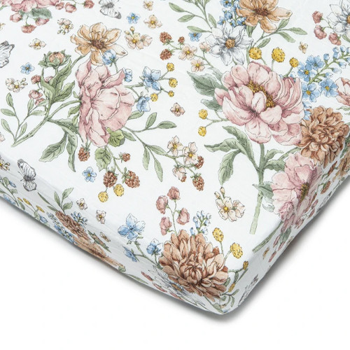 Muslin Crib Sheet, Secret Garden