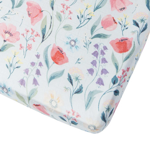 Muslin Crib Sheet, Bluebell