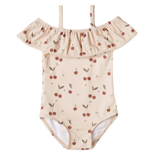 Rylee & Cru Off The Shoulder Swimsuit, Cherries